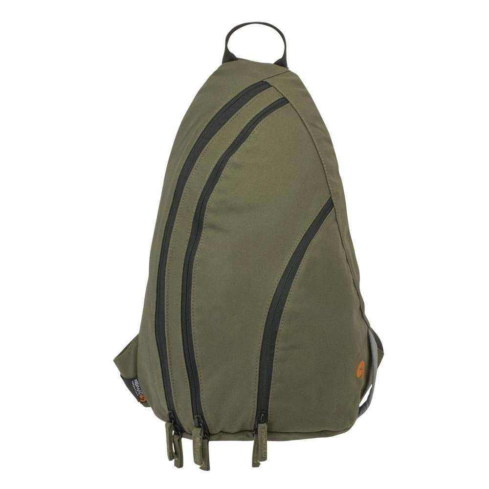 Olive green canvas sling backpack travel bag - front view