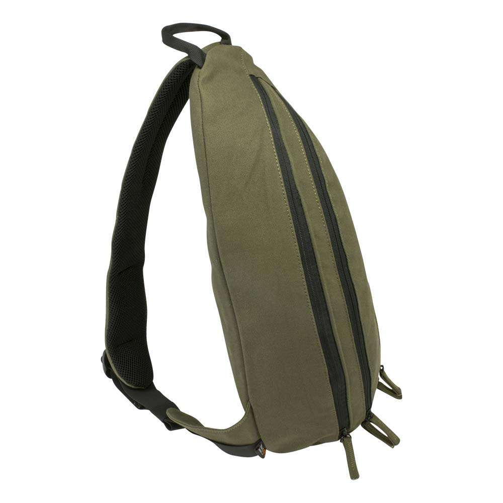 Olive green canvas sling backpack travel bag - profile view