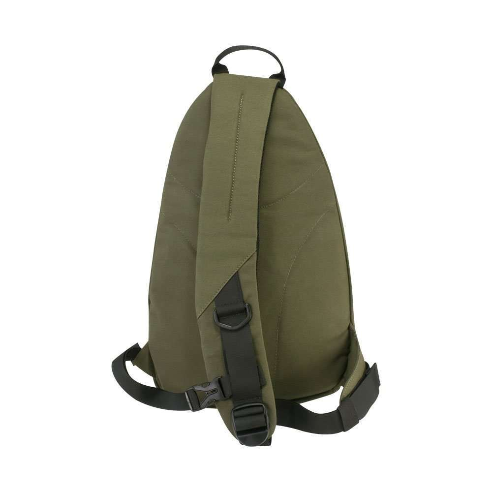 Olive Green canvas sling backpack travel bag - Back View