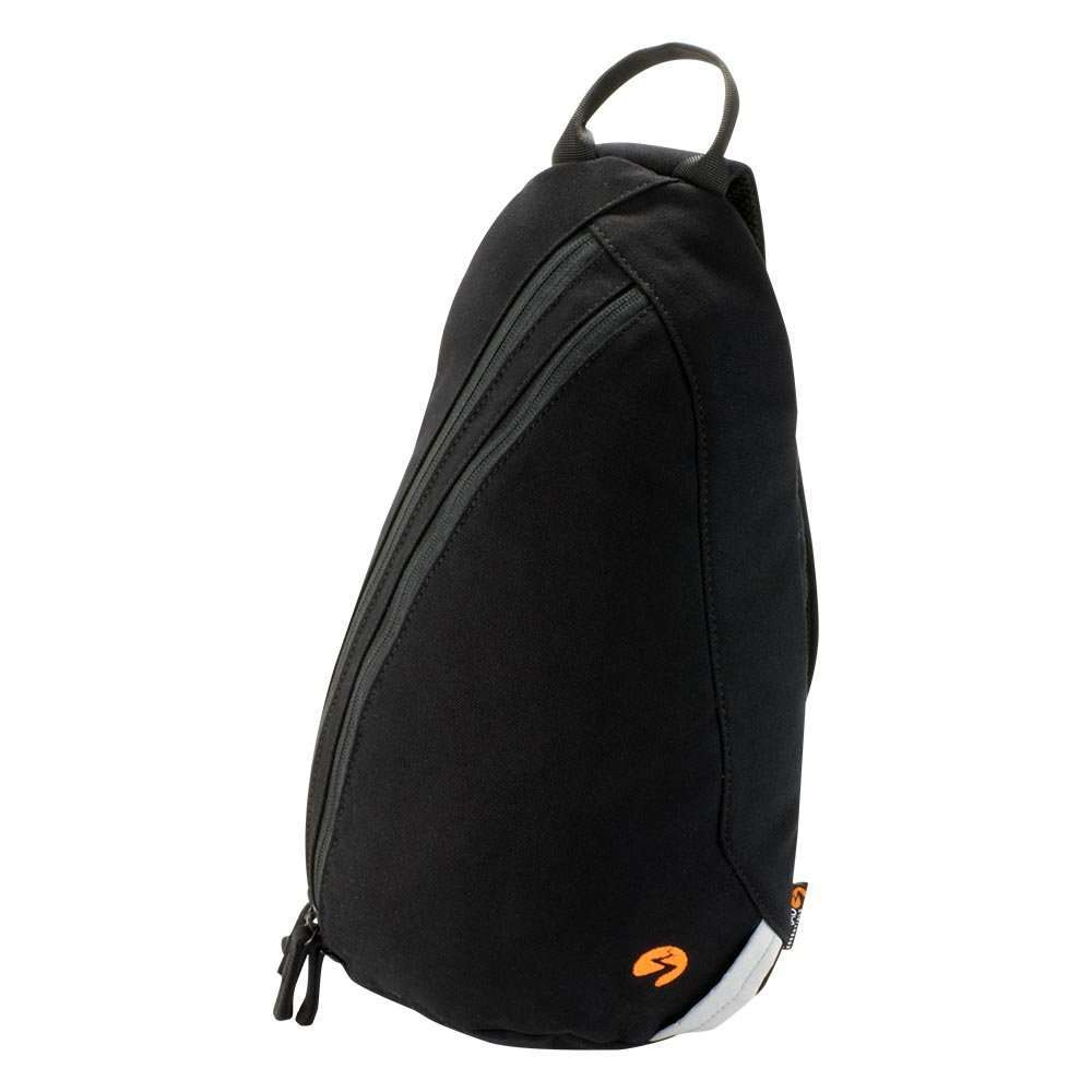 Black canvas sling backpack travel bag - profile view