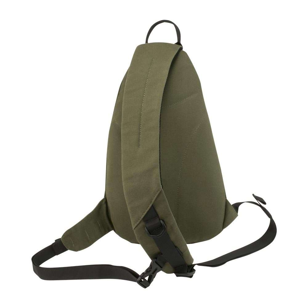 Olive green canvas sling backpack travel bag - back view