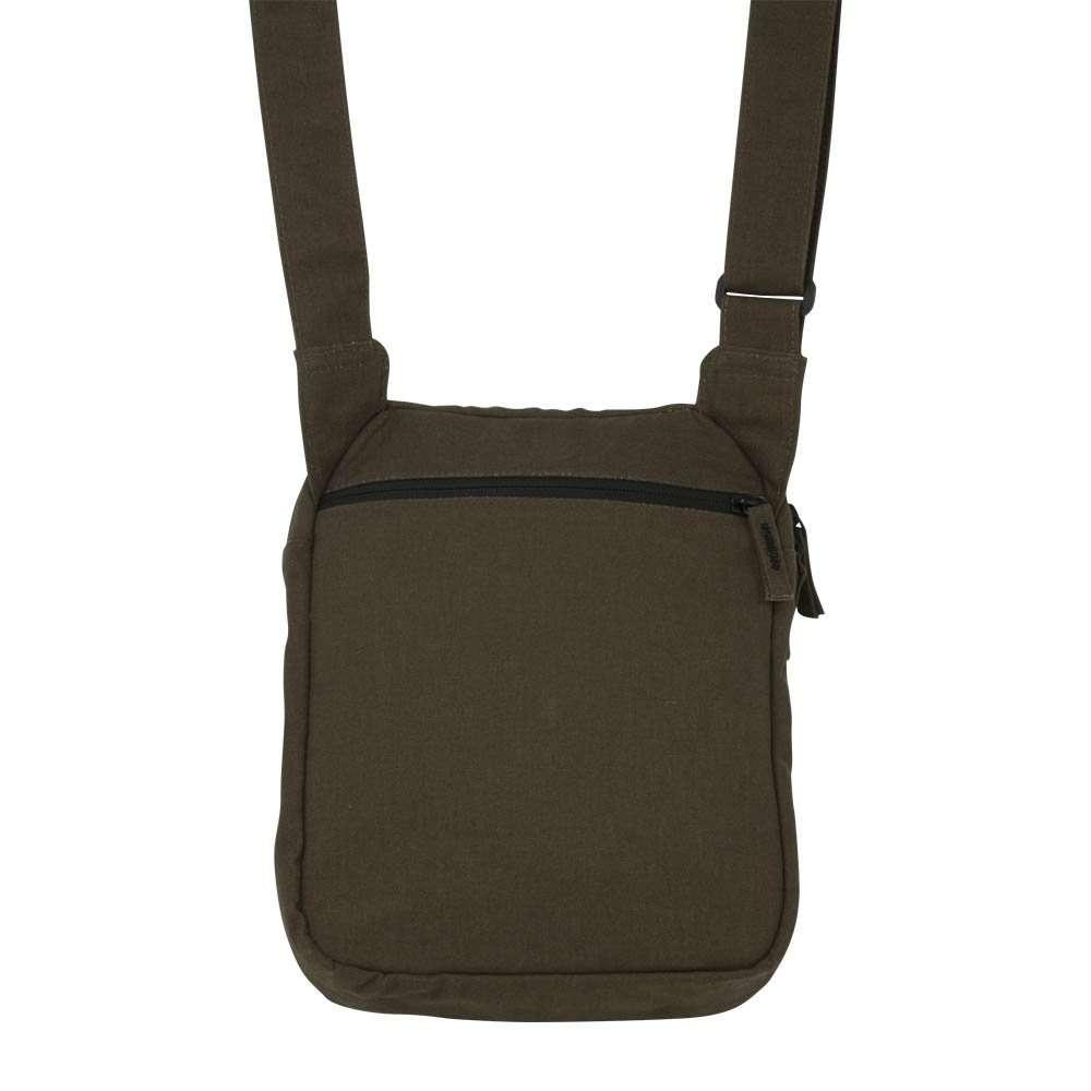Brown canvas ipad shoulder travel bag - back view