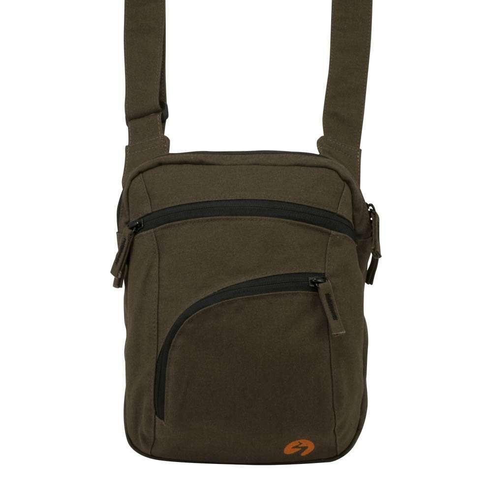 Brown canvas ipad shoulder travel bag - front view