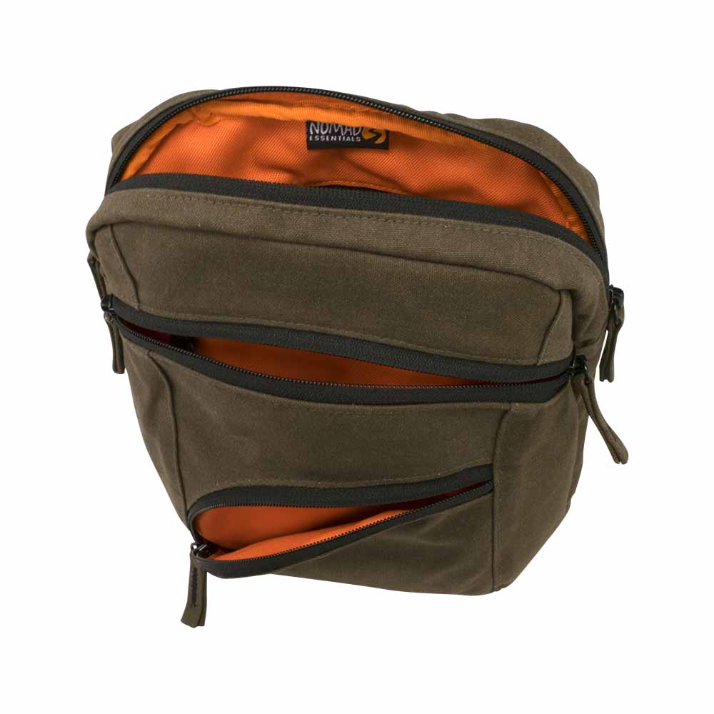 Brown canvas ipad shoulder travel bag - top inside view with orange lining