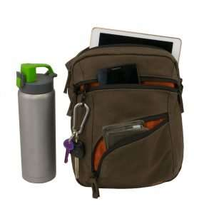 Brown canvas ipad shoulder travel bag - front view with accessories