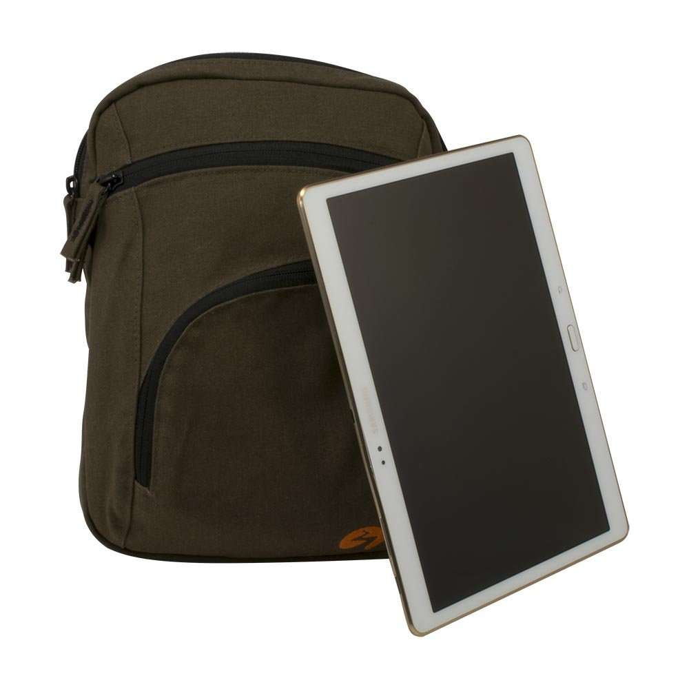 Brown canvas ipad shoulder travel bag - front view with tablet