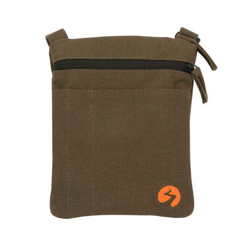 Brown canvas ipad mini travel bag - Profile View