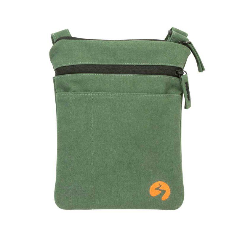 Green canvas ipad mini travel bag - Front View