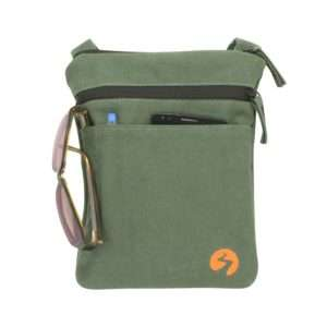 Green canvas ipad mini travel bag - Front View