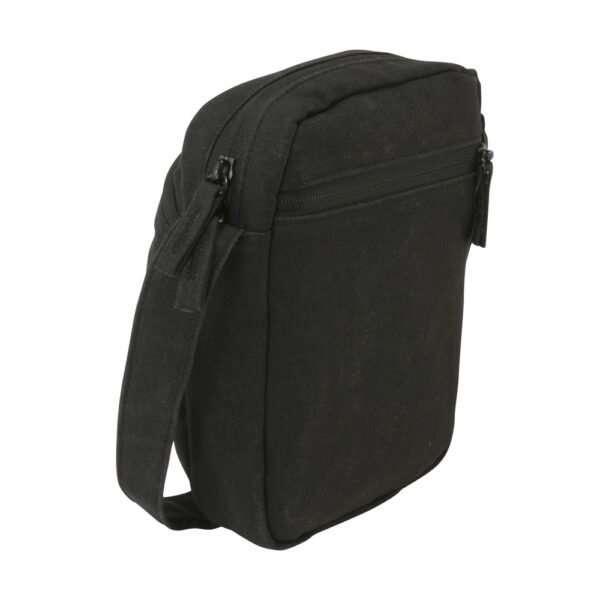 Black canvas ipad mini travel bag - Back View