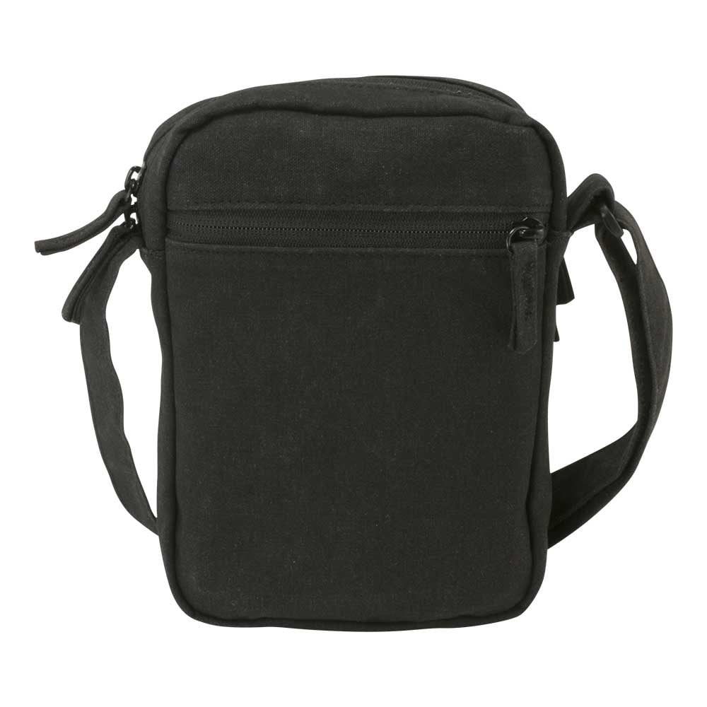 Black canvas ipad mini travel bag - Back View