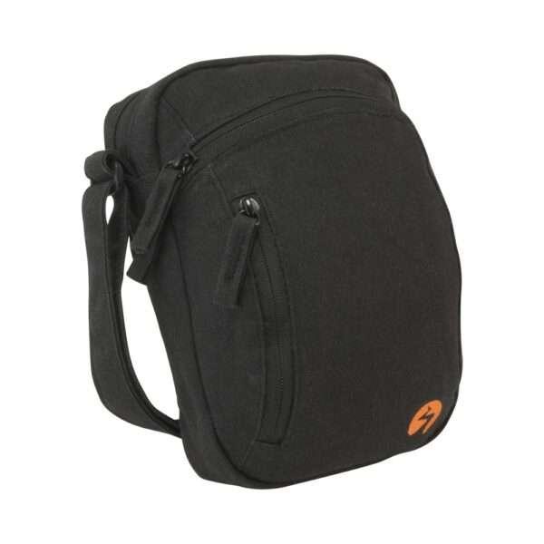 Black canvas ipad mini travel bag - Profile View
