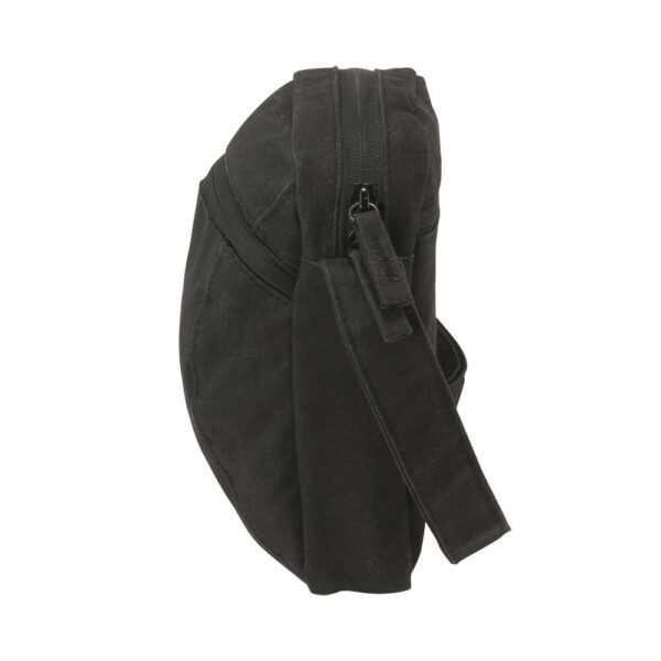 Black canvas ipad mini travel bag - Side View