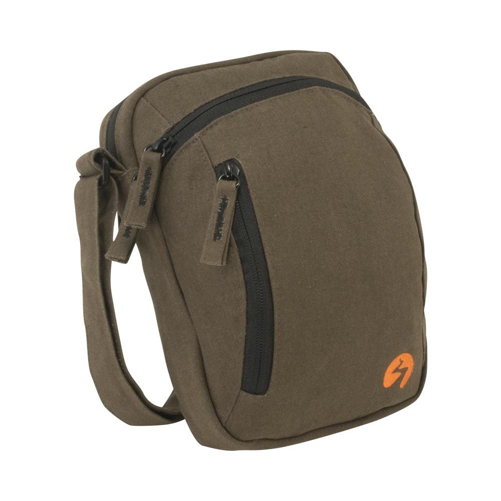 Brown canvas ipad mini travel bag - Profile View