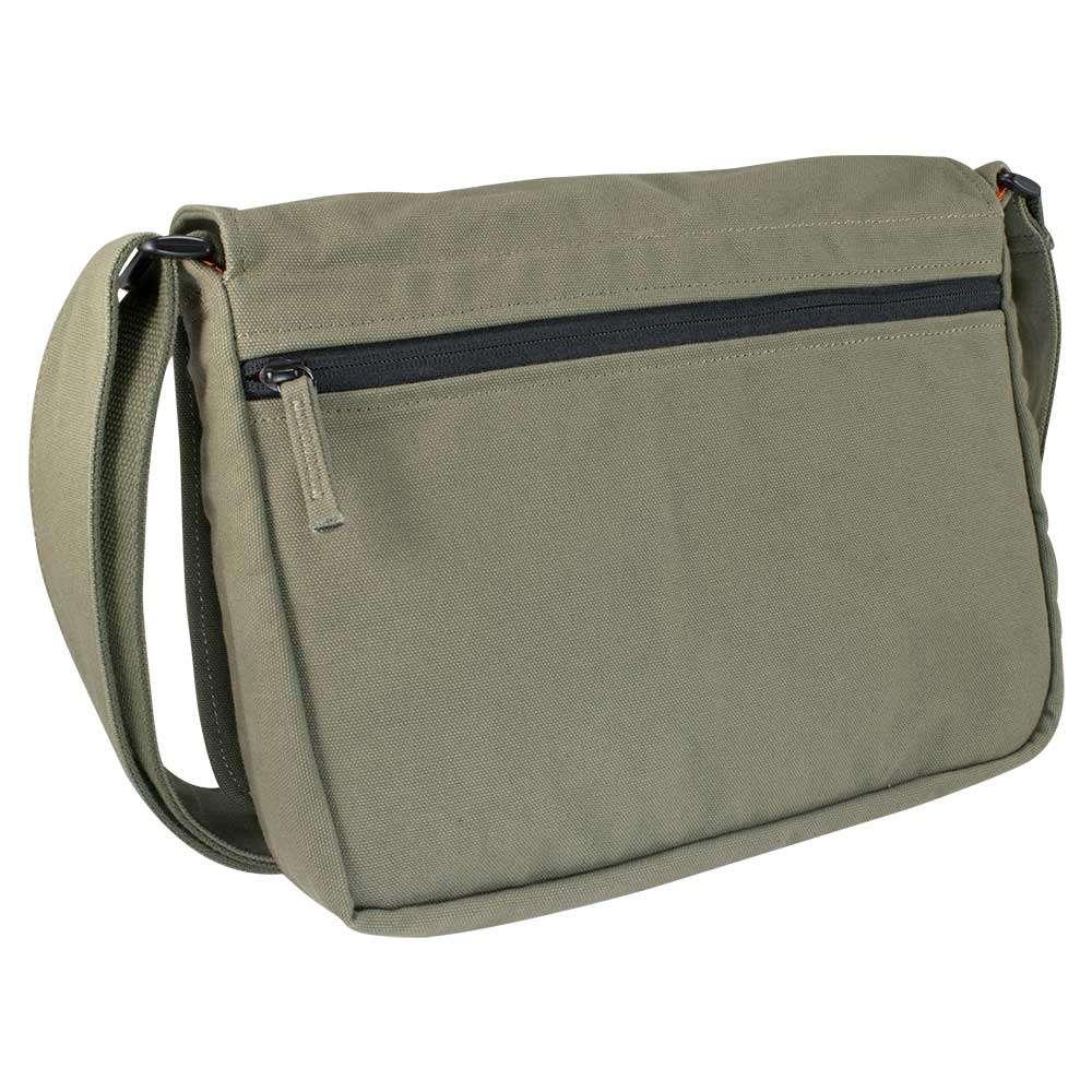 "Back photo of 13"" Olive green canvas satchel bag"