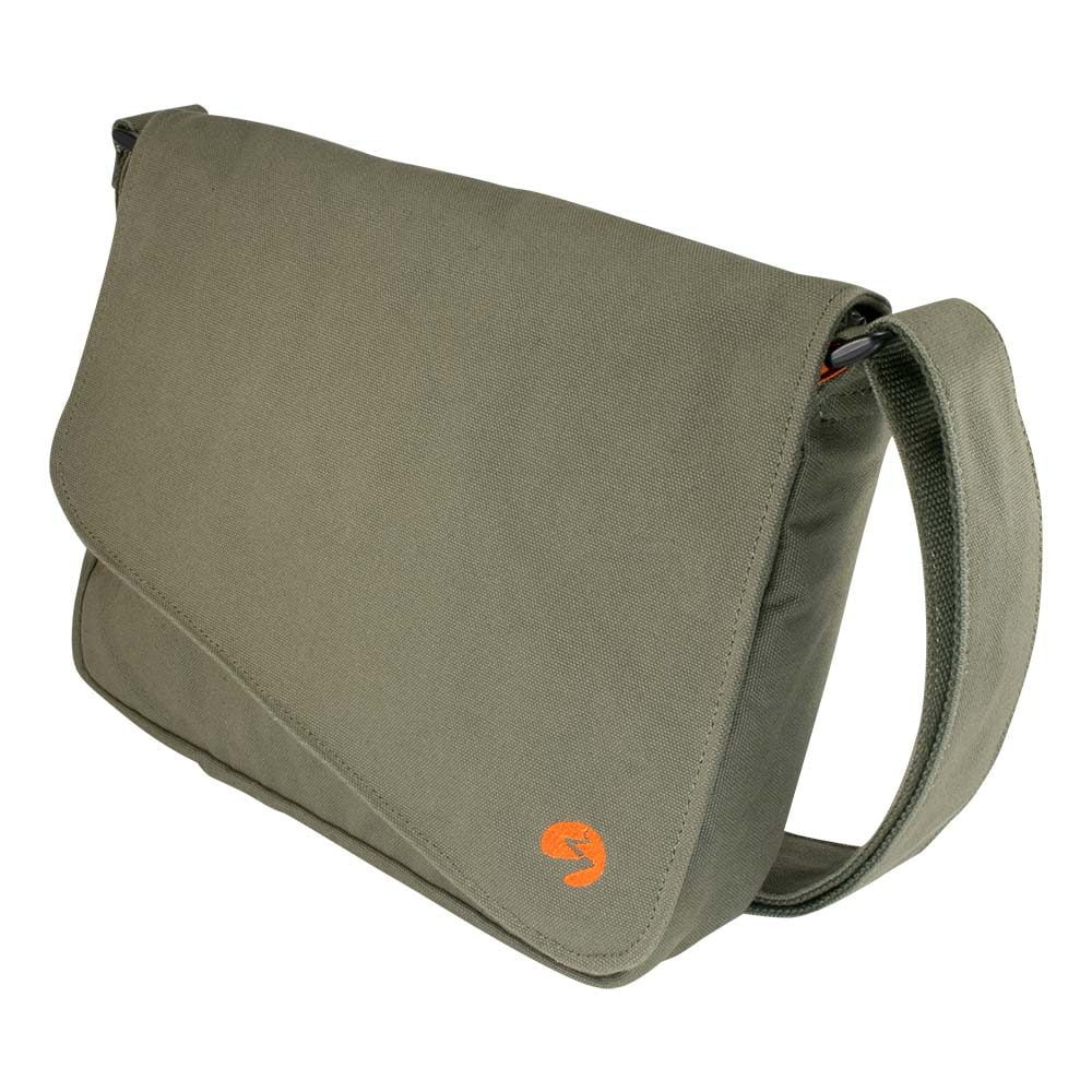 "Front photo of 13"" Olive green canvas satchel bag"