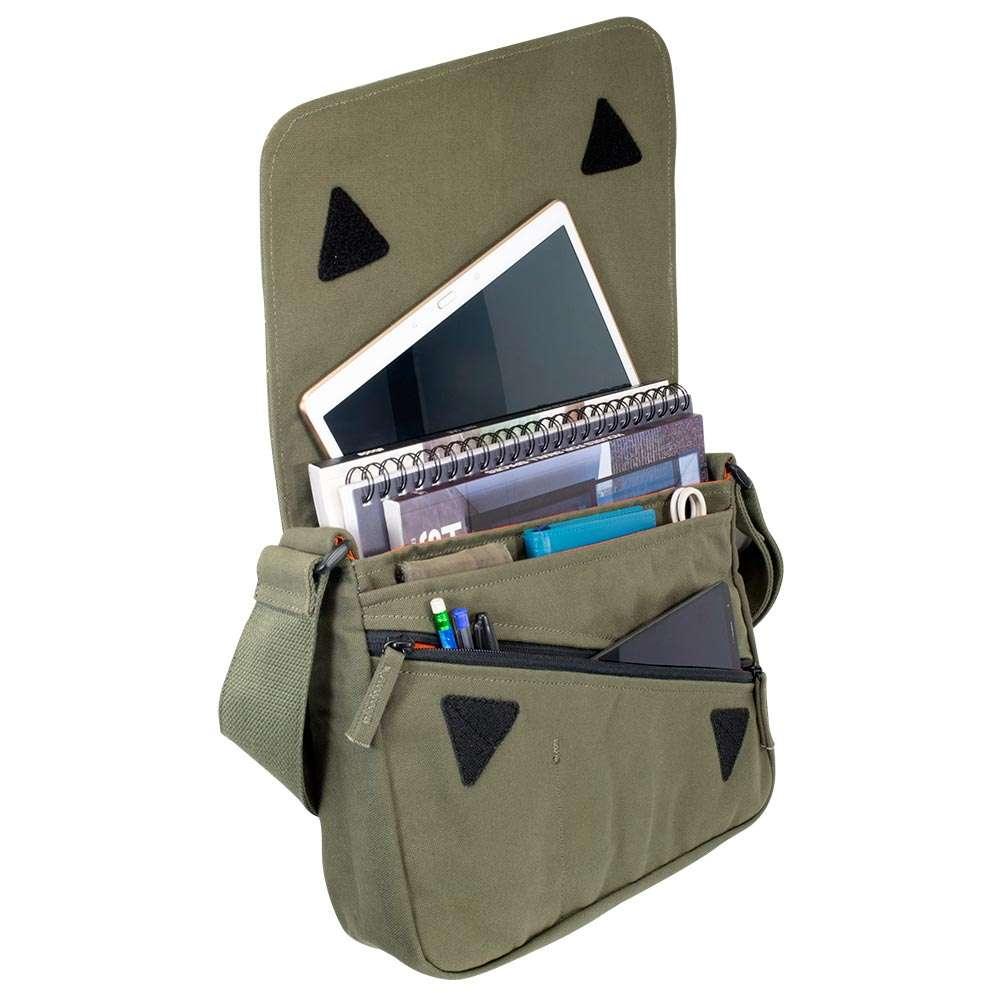 "Accessories photo in studio of 13"" Olive green canvas satchel bag"