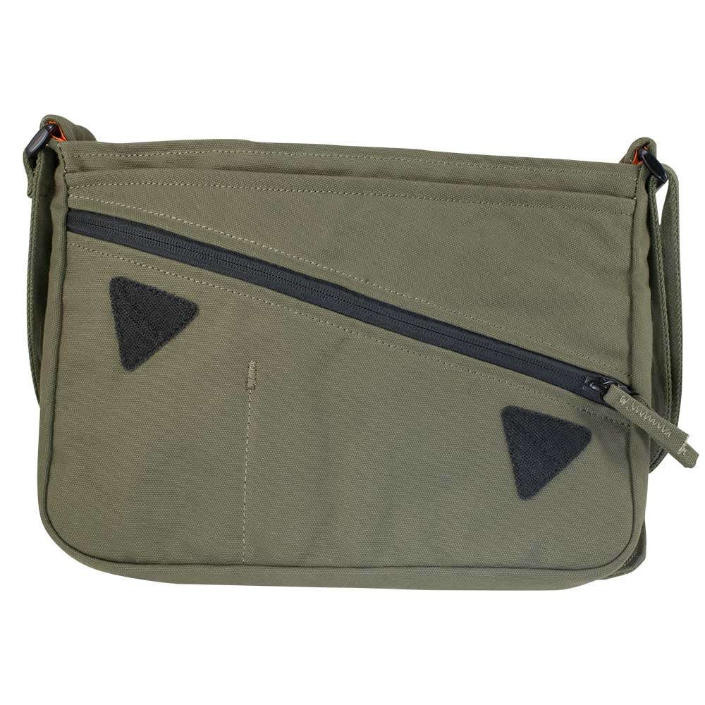 """Lid open photo in studio of 13"""" Olive green canvas satchel bag"""